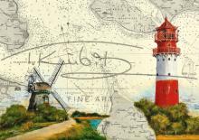 Leuchtturm Falshöft und Mühle Charlotte, Geltinger Birk Postkarte 10x15cm