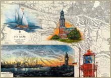 Hamburger Michel und Hafen bei Nacht Kunstdruck | inkl. handsigniertem Passepartout Vanille (30x40cm)