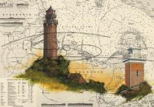 Leuchtturm Neuland, Hohwachter Bucht und Leuchtturm Heiligenhafen Tischset Format A3, laminiert, strapazierfähig, wasserfest, abwischbar