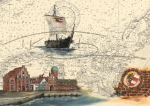 Hafenansicht Wismar und Hansekogge Kunstdruck | inkl. handsigniertem Passepartout Fotograu (40x50cm)