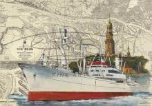 Die Cap San Diego im Hamburger Hafen Postkarte 10x15cm