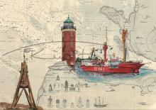 Leuchtturm Cuxhaven, Kugelbake und Feuerschiff Elbe 1 Postkarte 10x15cm