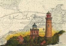 Schinkelturm und Leuchtturm Kap Arkona auf Rügen Kunstdruck | inkl. handsigniertem Passepartout Fotograu (40x50cm)