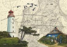 Blaue Scheune und Leuchtturm Dornbusch auf Hiddensee Kunstdruck | inkl. handsigniertem Passepartout Fotograu (40x50cm)