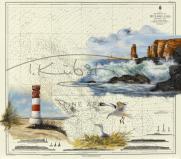 Leuchtfeuer Helgoland Düne Tischset Format A3, laminiert, strapazierfähig, wasserfest, abwischbar