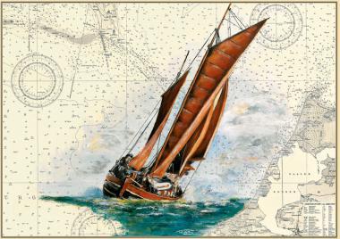 Zeesenboot in voller Fahrt