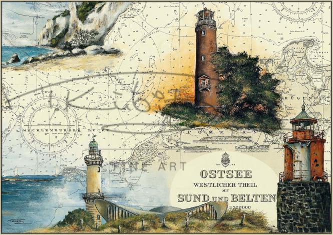 Leuchtturm Darßer Ort und Leuchtfeuer Vierendehlgrund Postkarte 10x15cm