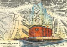 Elbphilharmonie in der Hamburger Hafen City Tischset Format A3, laminiert, strapazierfähig, wasserfest, abwischbar